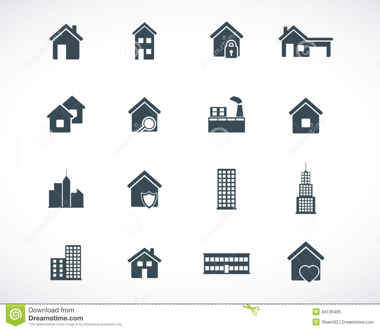 Vector Black Building Icons Stock Illustration Image