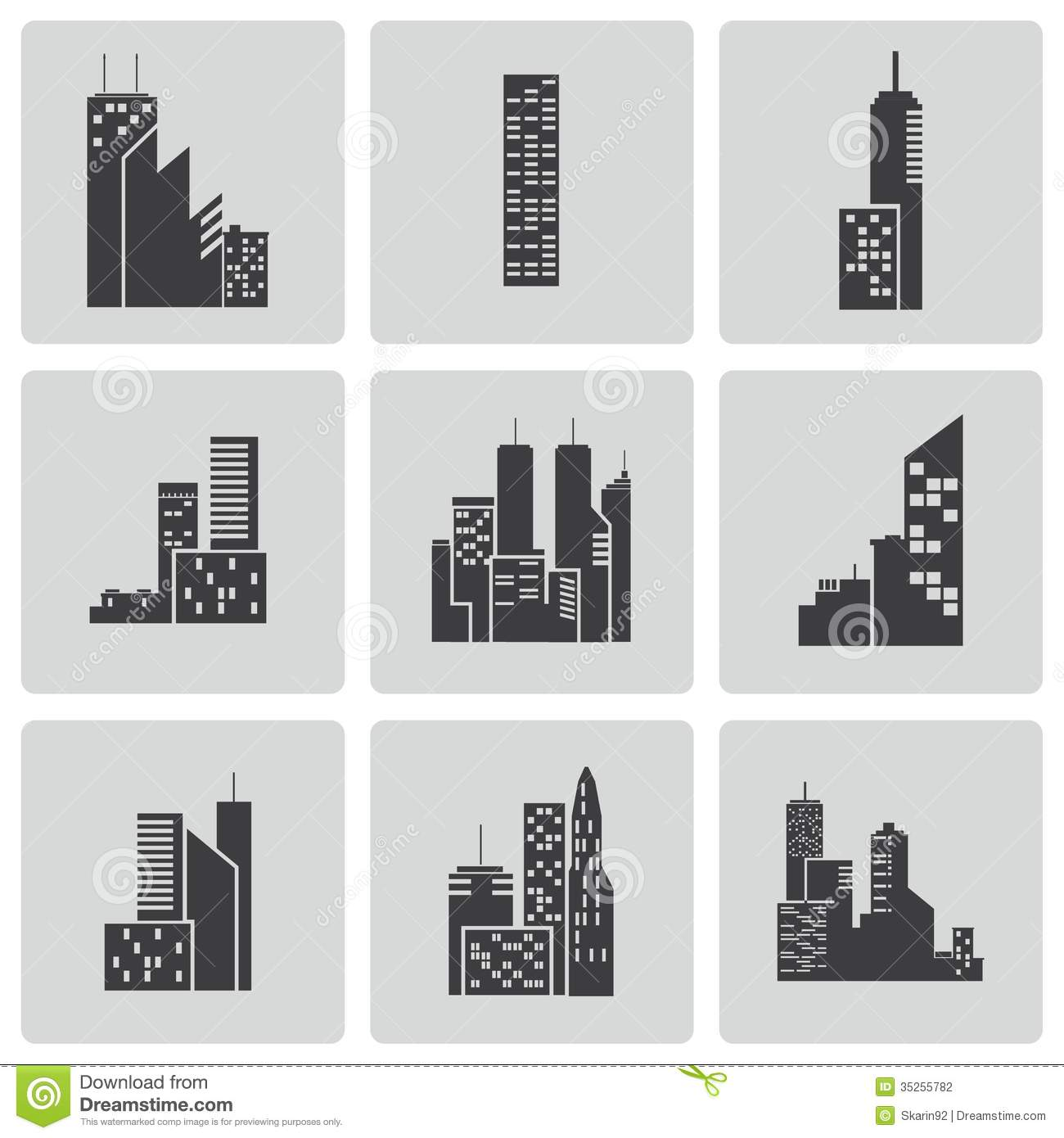 Vector Black Building Icons Set Stock Vector