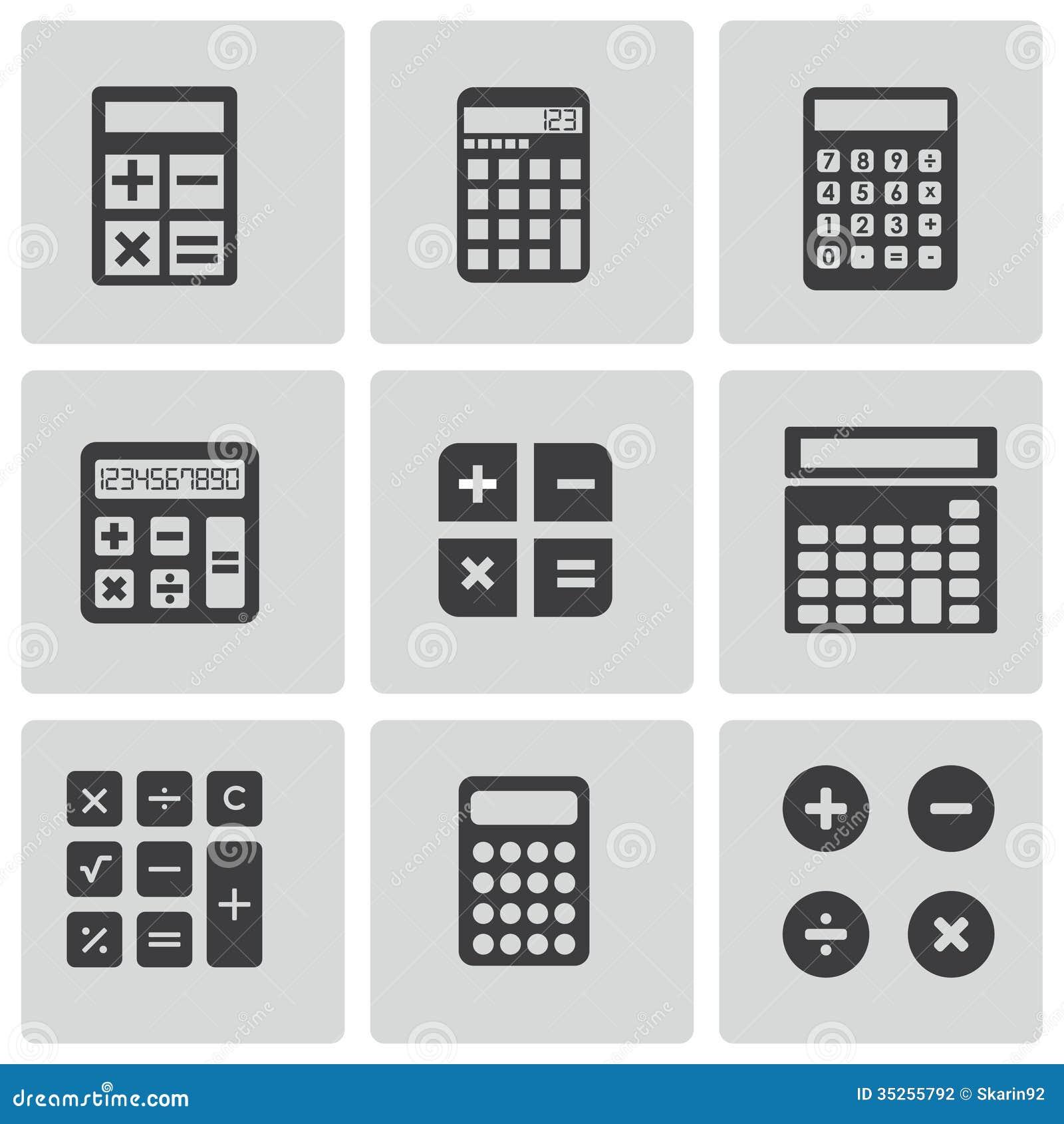 vector black calculator icons set stock vector illustration of