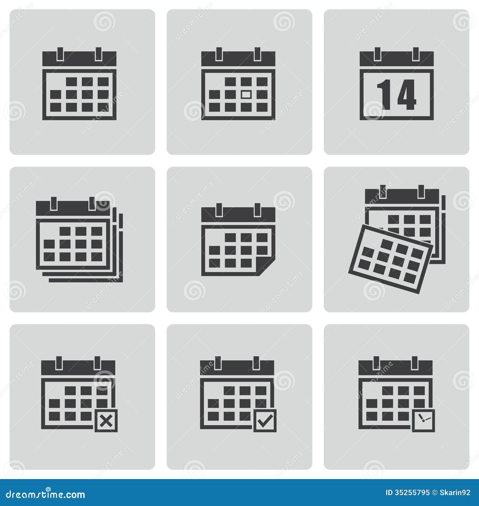 Calendar Design Free Vector : Vector black calendar icons set stock image