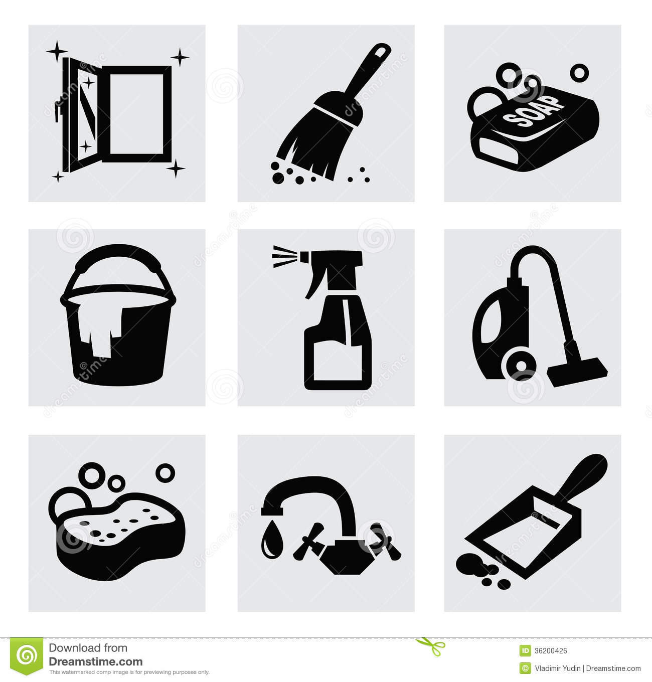 Cleaning Icon Set Stock Vector - Image: 40703780