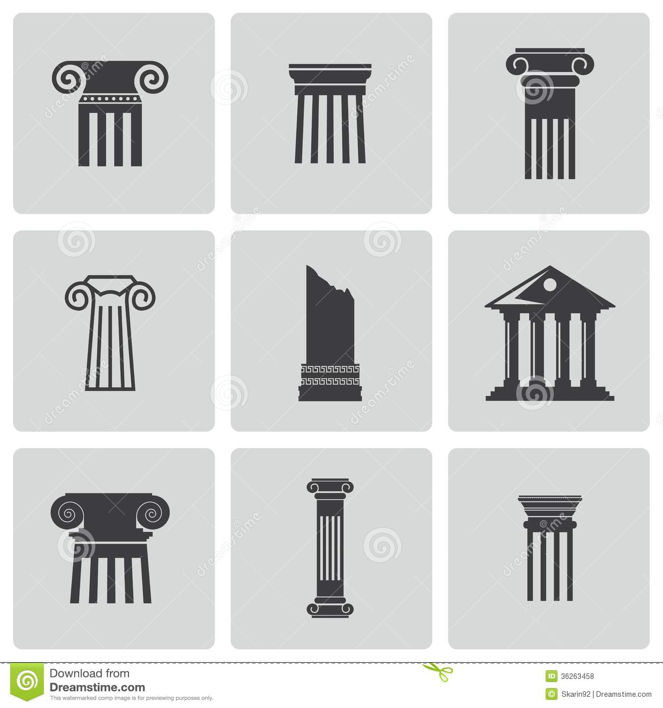 Vector Black Column Icons Set Royalty Free Stock Photos ... Greek Columns Vector
