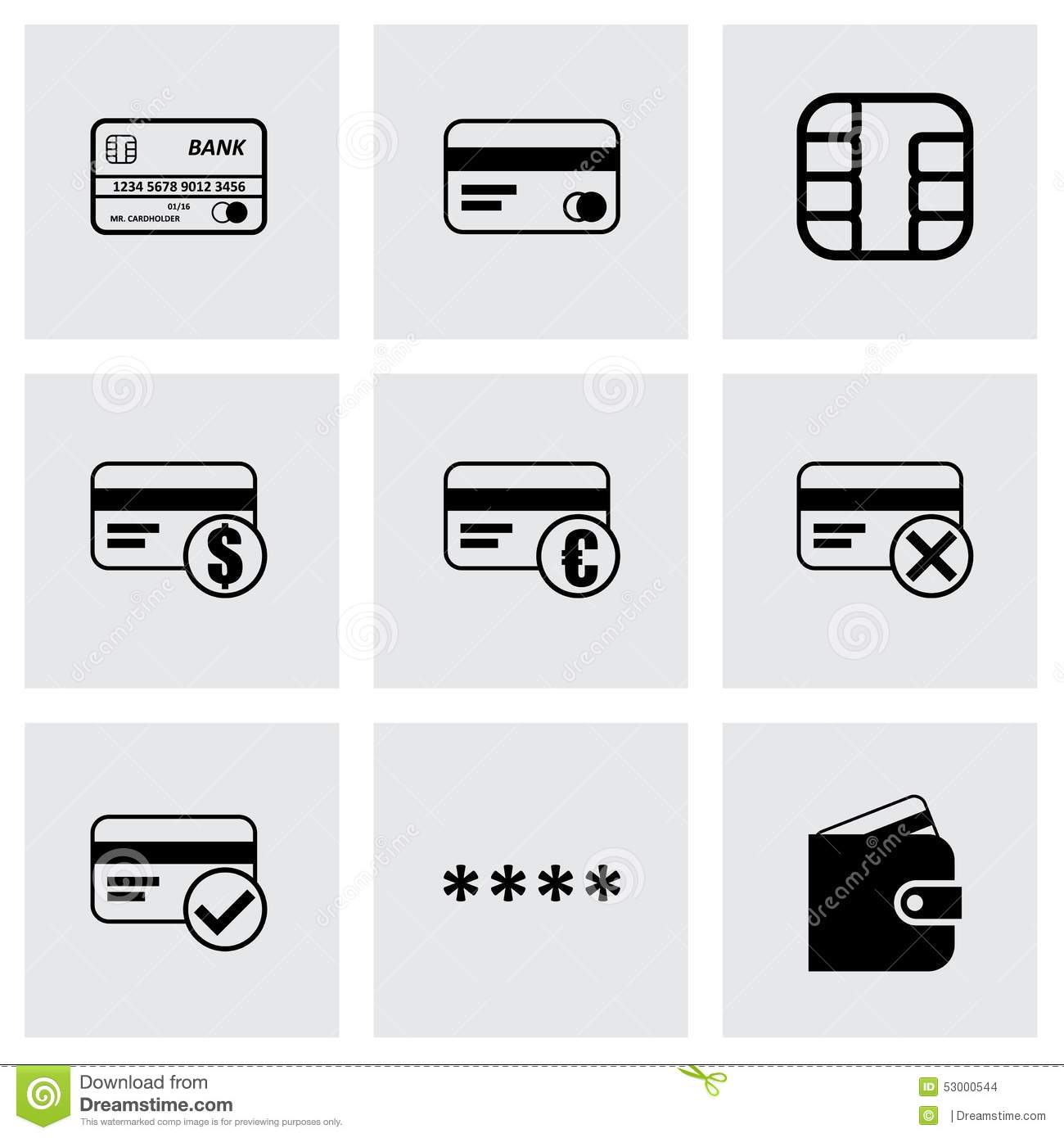 Vector Black Credit Card Eyes Icons Set Stock Vector - Image: 53000544