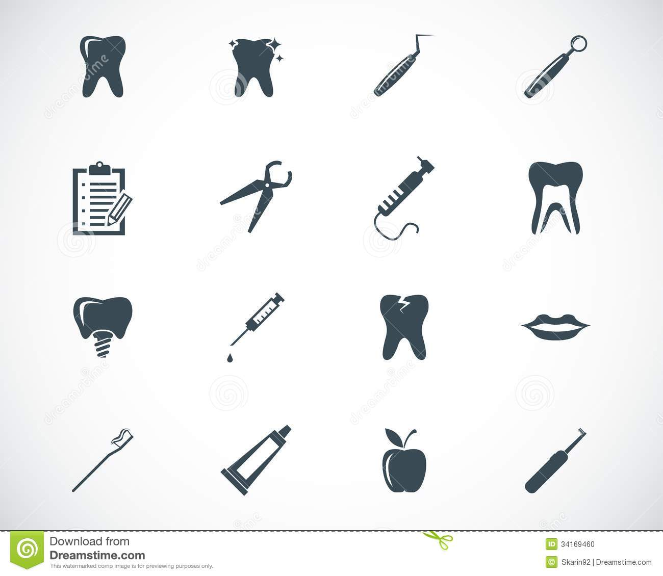 Vector Black Dental Icons Stock Photo - Image: 34169460