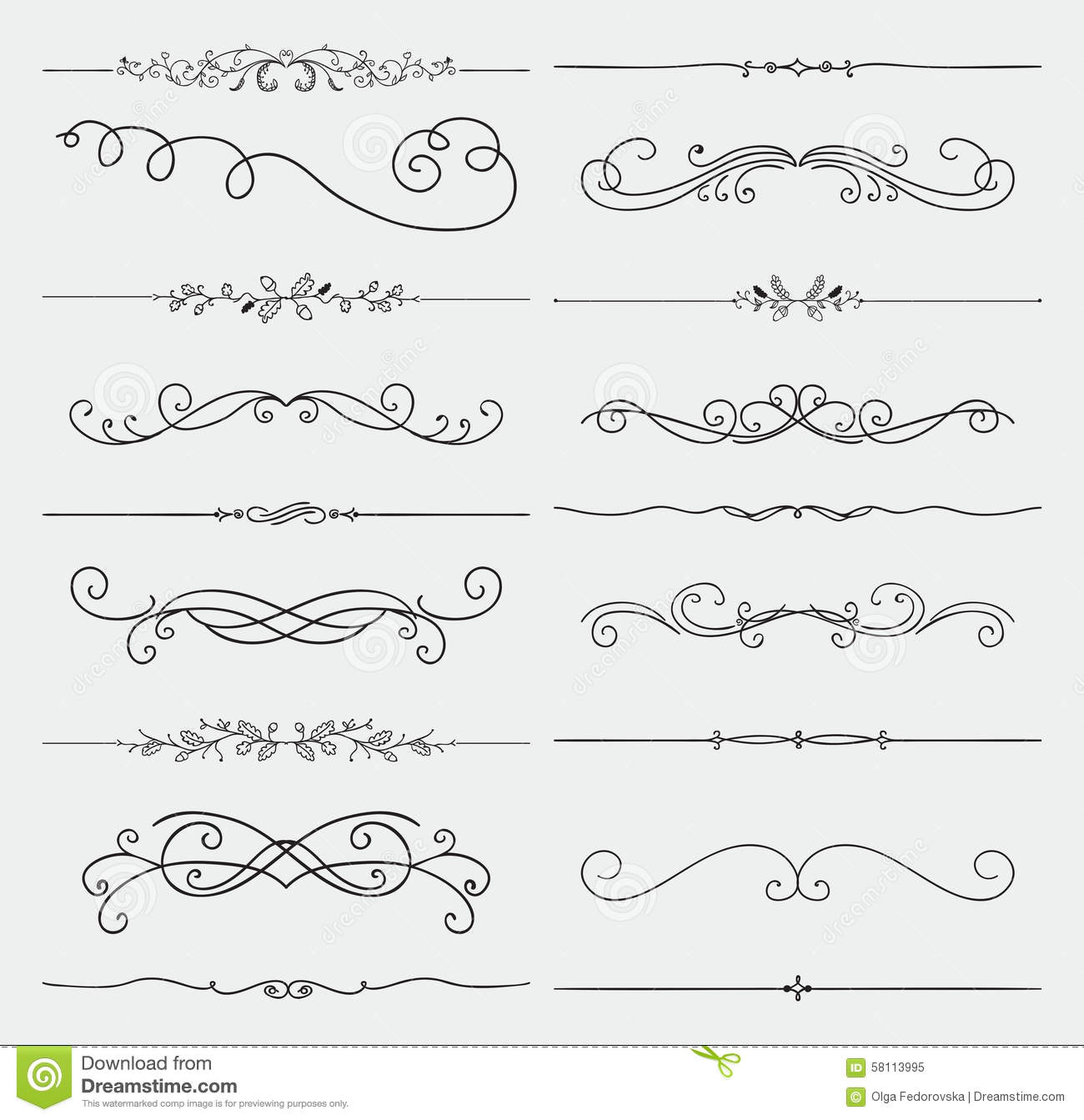 Set Of Black Flower Design Elements From My Big Floral: Vector Black Doodle Hand Drawn Swirls Collection Stock