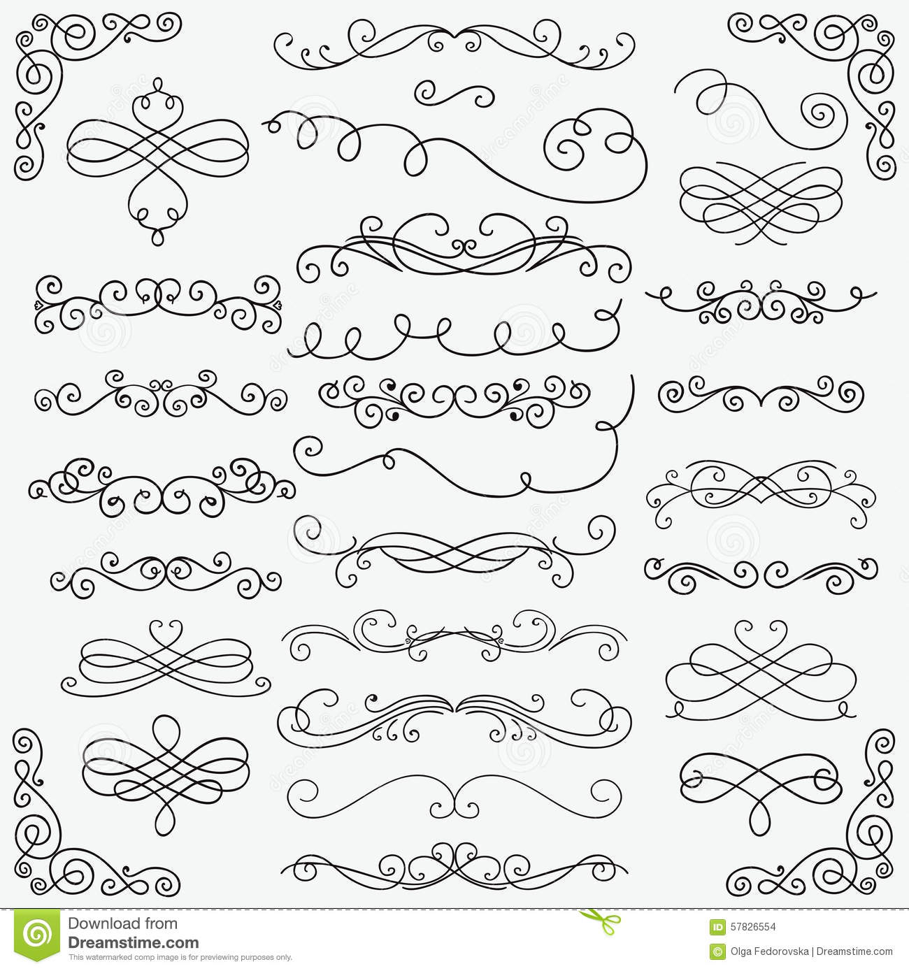 vector black doodle hand drawn swirls collection stock