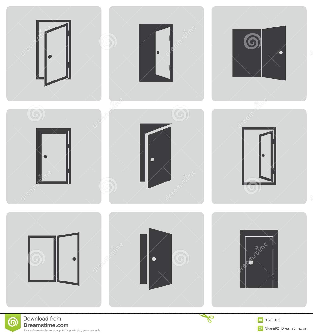 Open door closed door - Background Black Door Icons