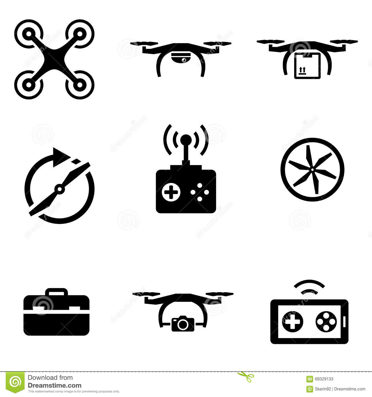 drones icon vector  battery  remote control flat isolated