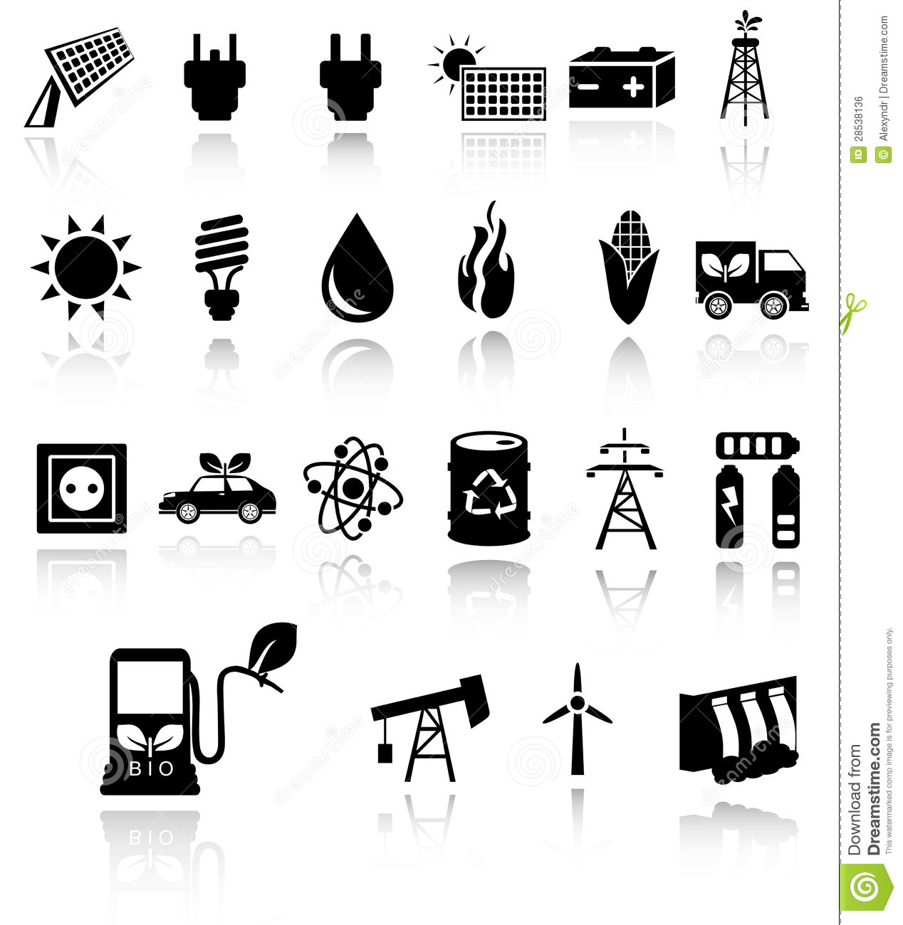 ... black eco energy icons set on gray. Solar and wind energy. EPS10