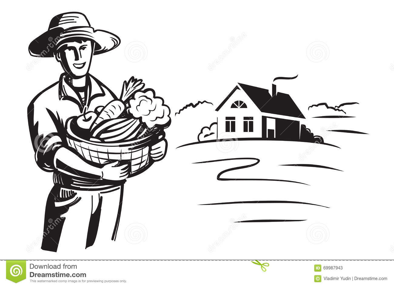 Vector black farmer stock vector. Illustration of organic ...