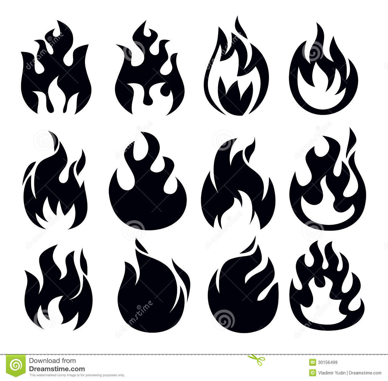 Fire icon stock vector image of fuel dangerous black for Black and white flame tattoo