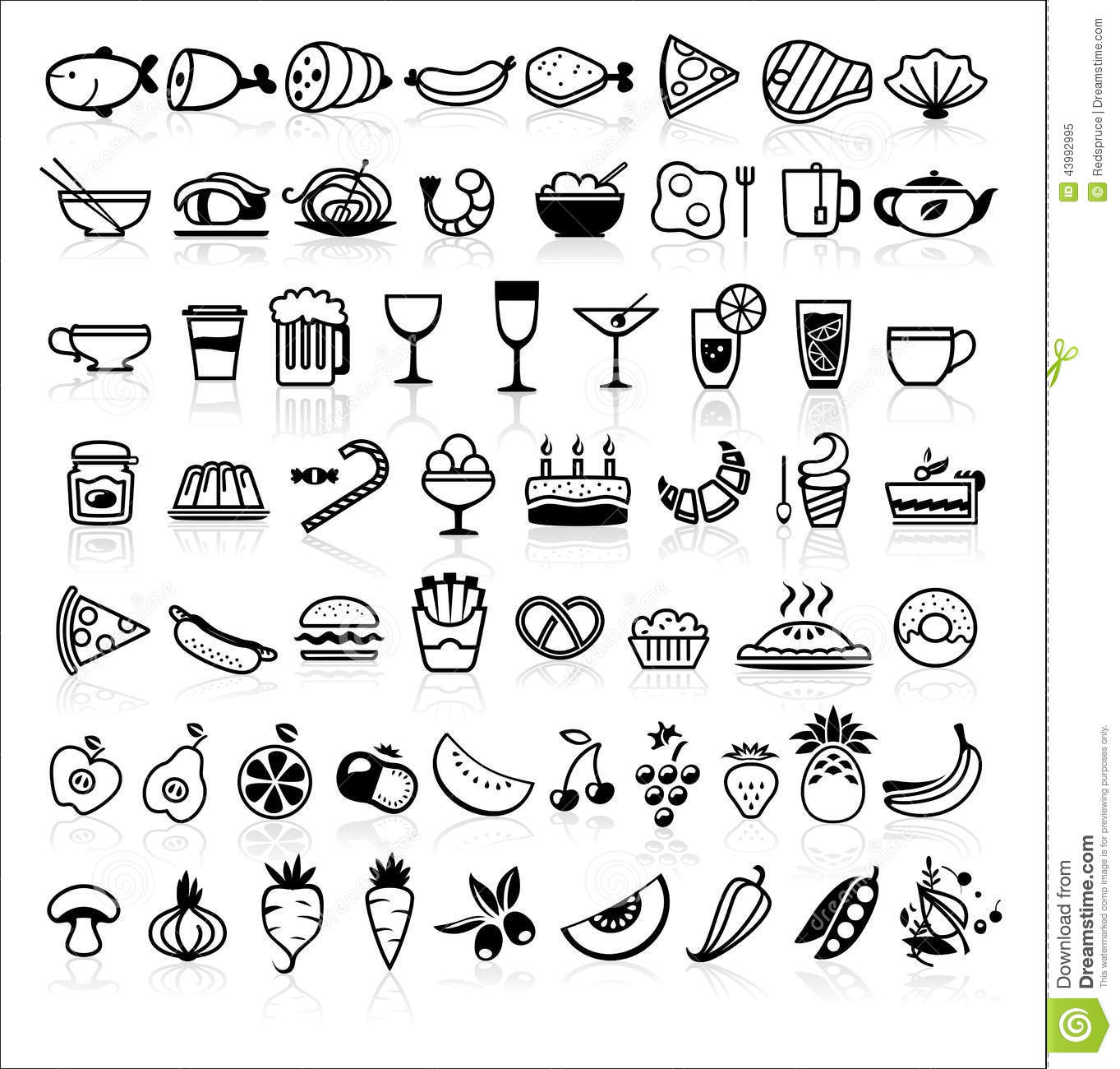 Vector Black Food Icons On White Stock Vector - Image ...