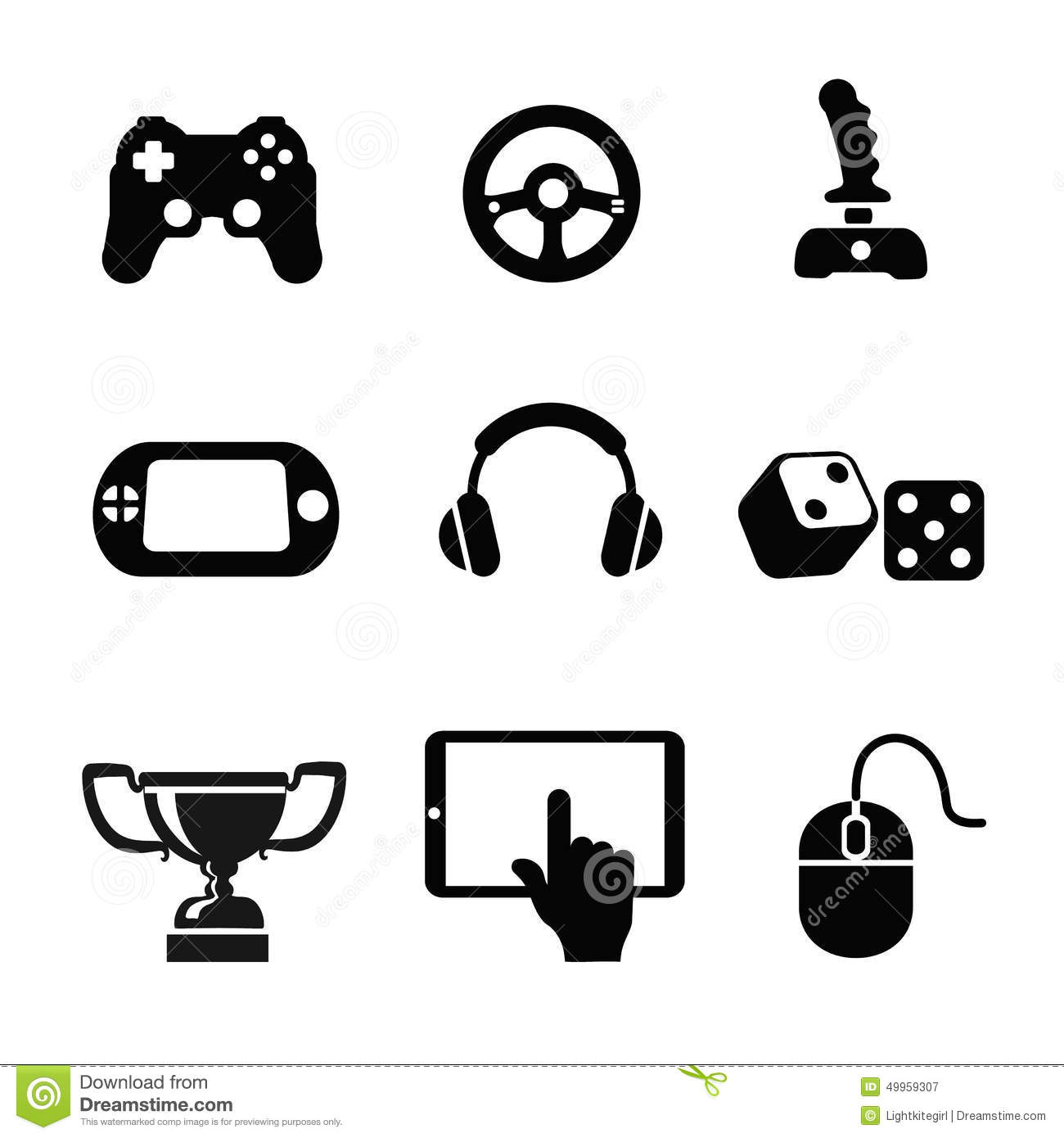 Vector Black Game Icons Set White Background Stock Vector - Image ...