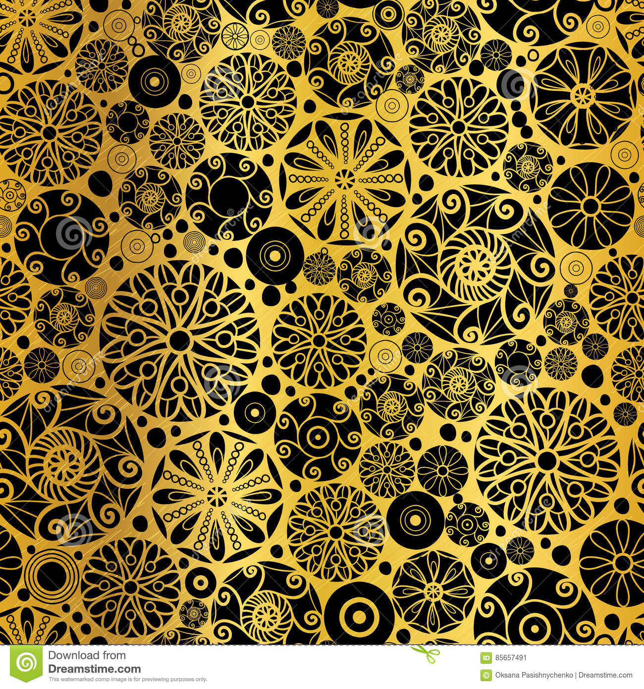 Vector Black Gold Abstract Doodle Circles Seamless Pattern