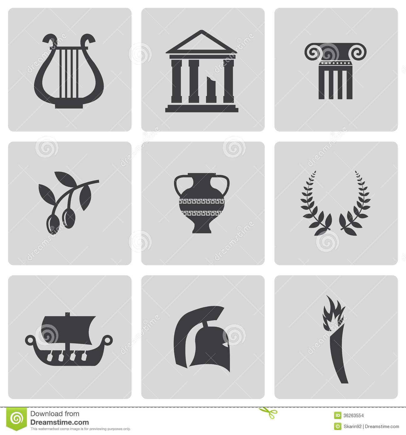 Vector Black Greece Icons Set Stock Images Image 36263554