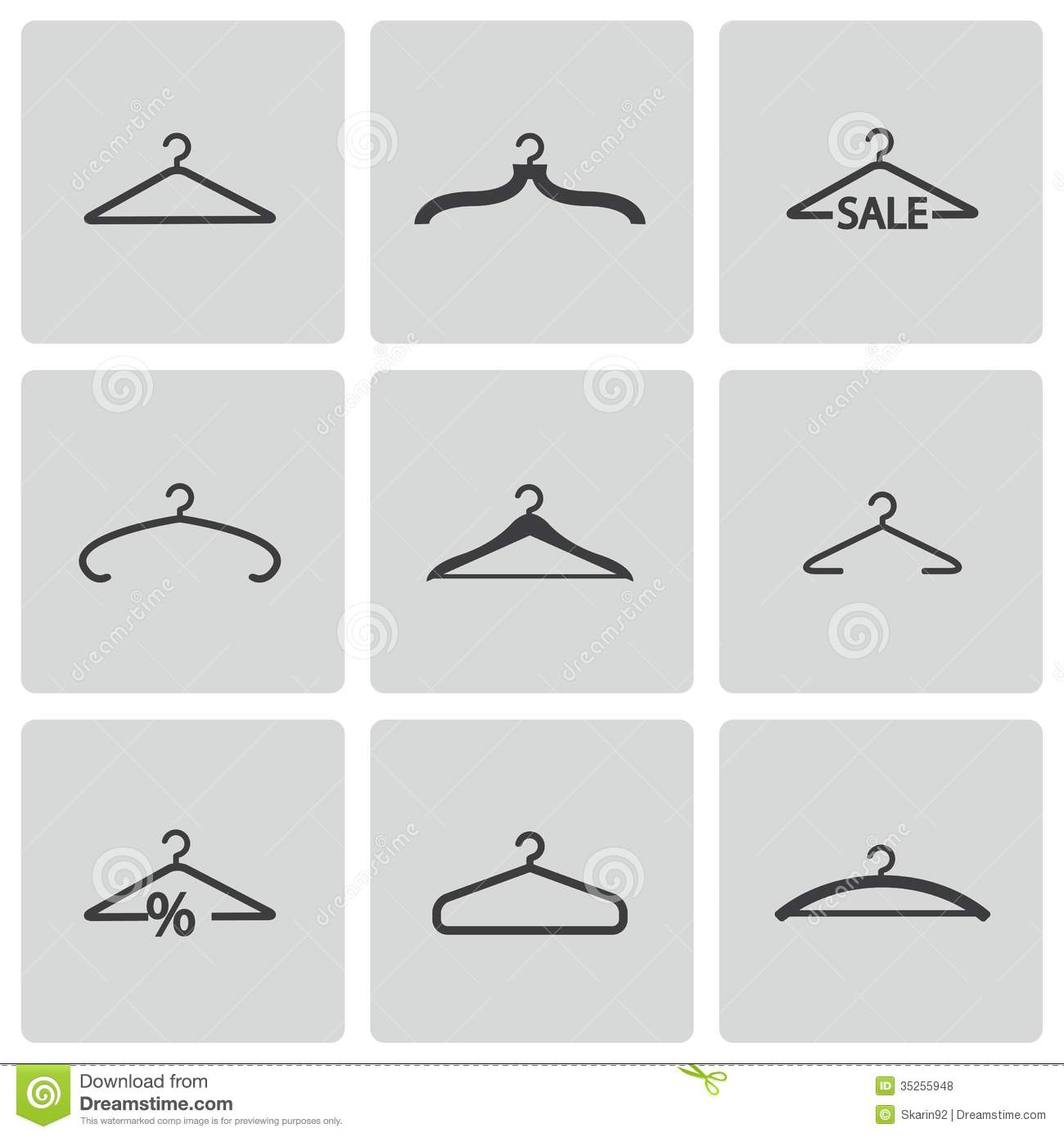 Vector Black Hanger Icons Set Royalty Free Stock Photos