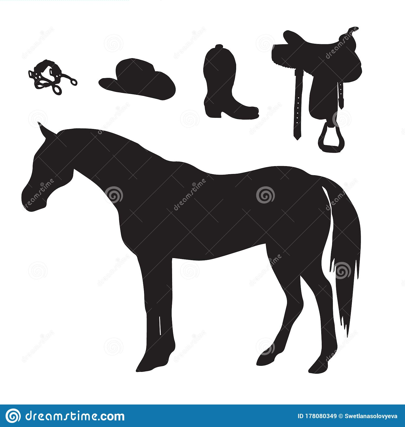 Vector Black Horse And Riding Silhouette Set Stock Illustration Illustration Of Icon Rodeo 178080349