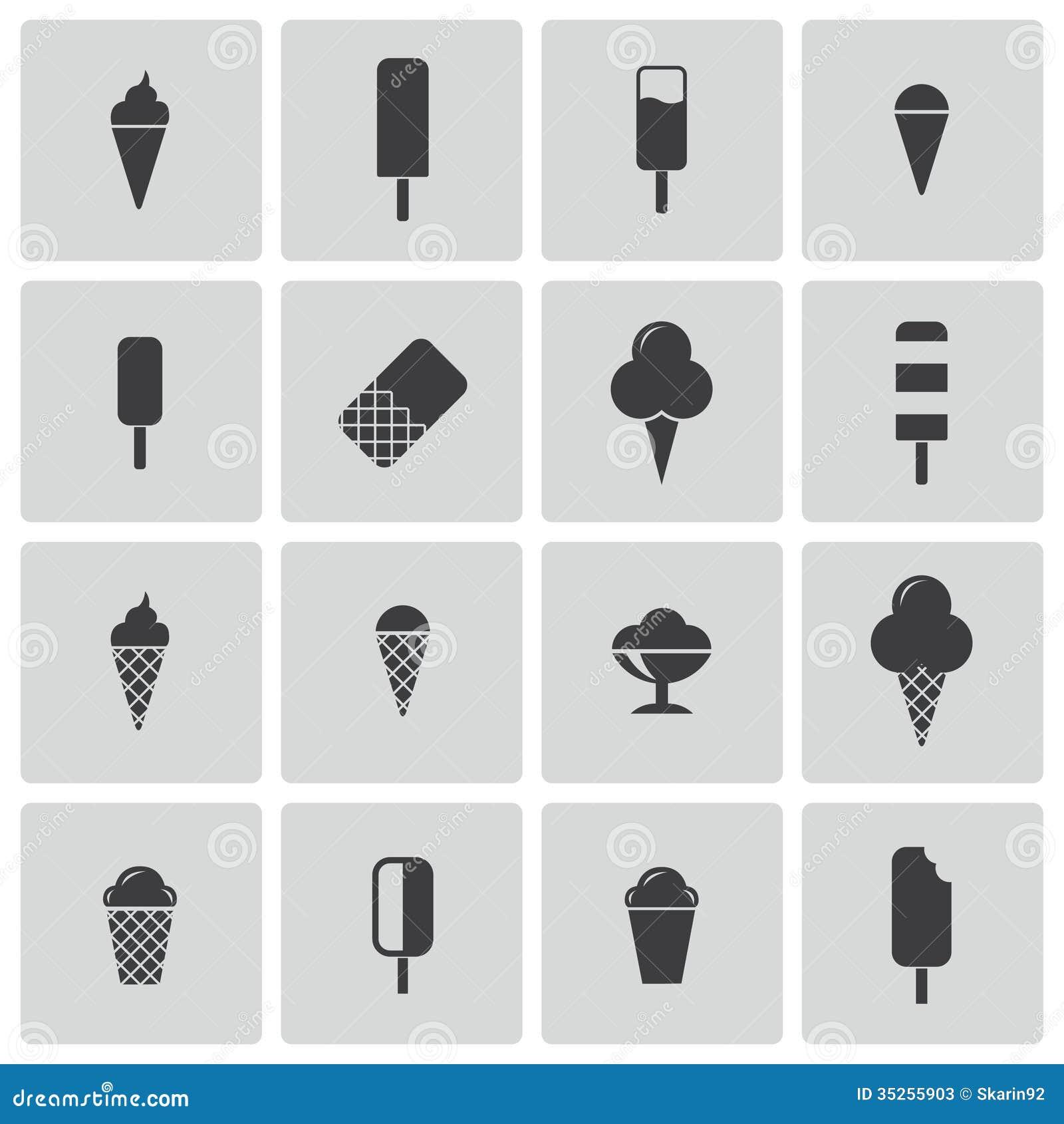 Fresh Ice Cream Stick In Summer Wallpaper Vector: Vector Black Ice Cream Icons Set Stock Photos