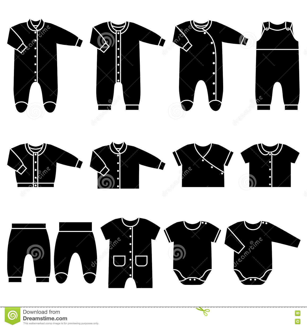 90f80237e463 Vector Black Icons Of Baby Clothes. Stock Vector - Illustration of ...