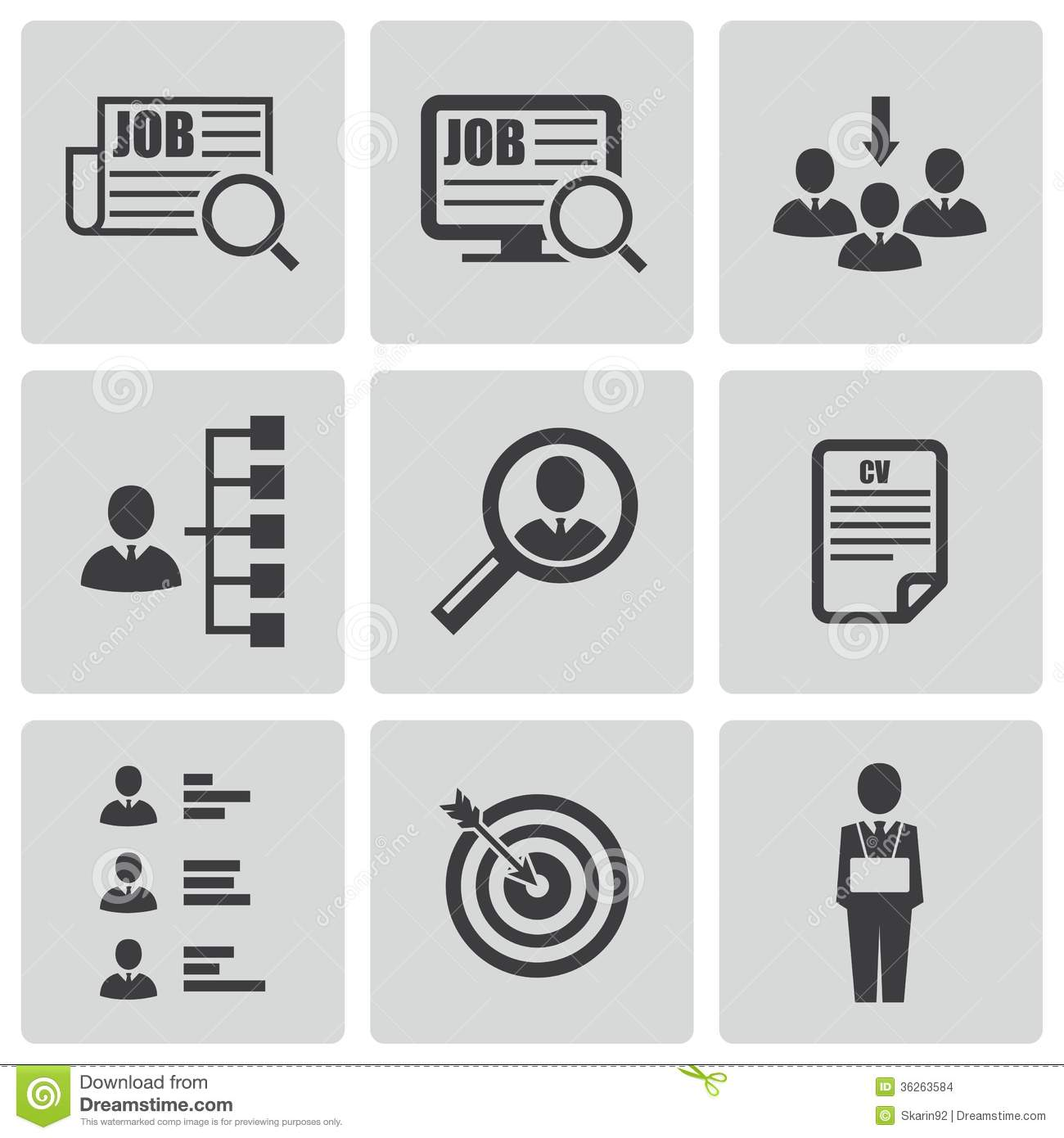 Vector Black Job Search Icons Set Stock Images - Image ...