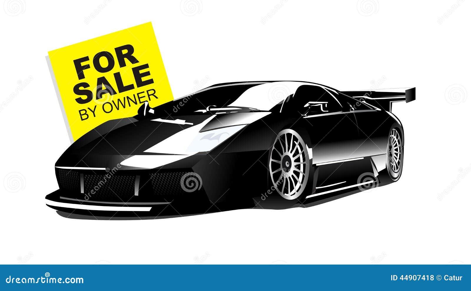 Vector Of Black Lamborghini Gallardo For Sale Stock Vector