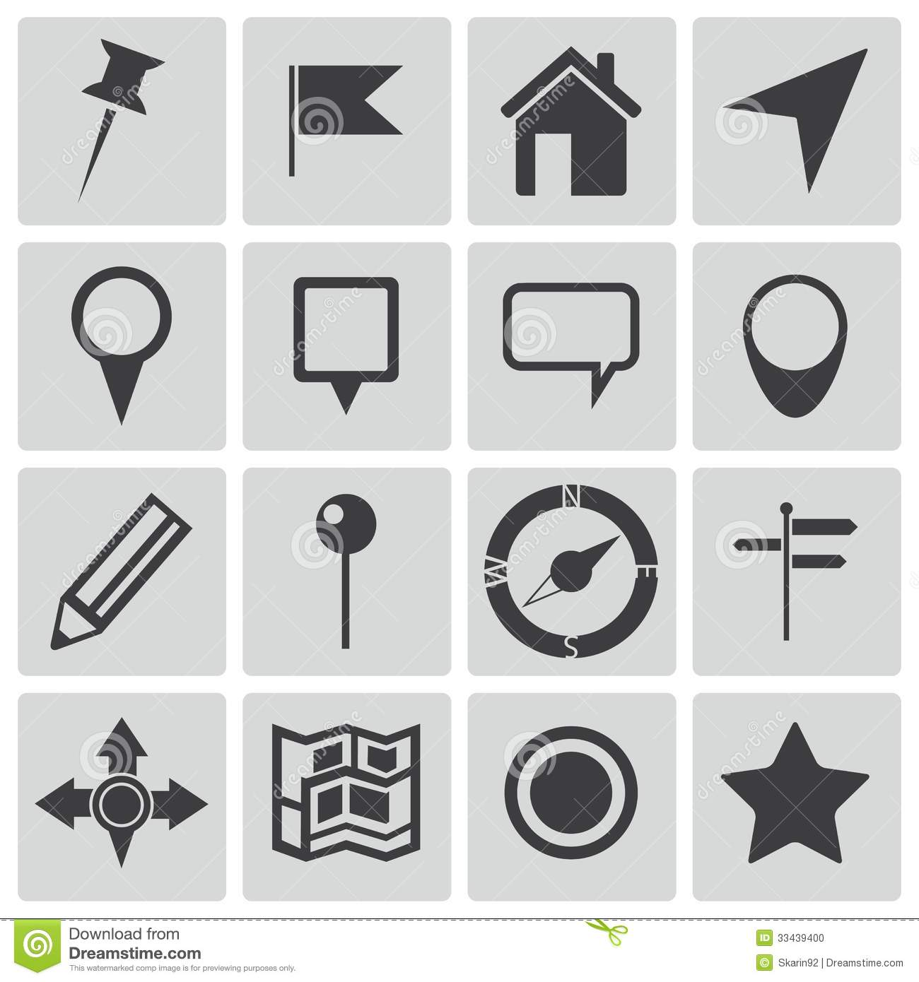 Vector Black Map Icons Stock Photo - Image: 33439400