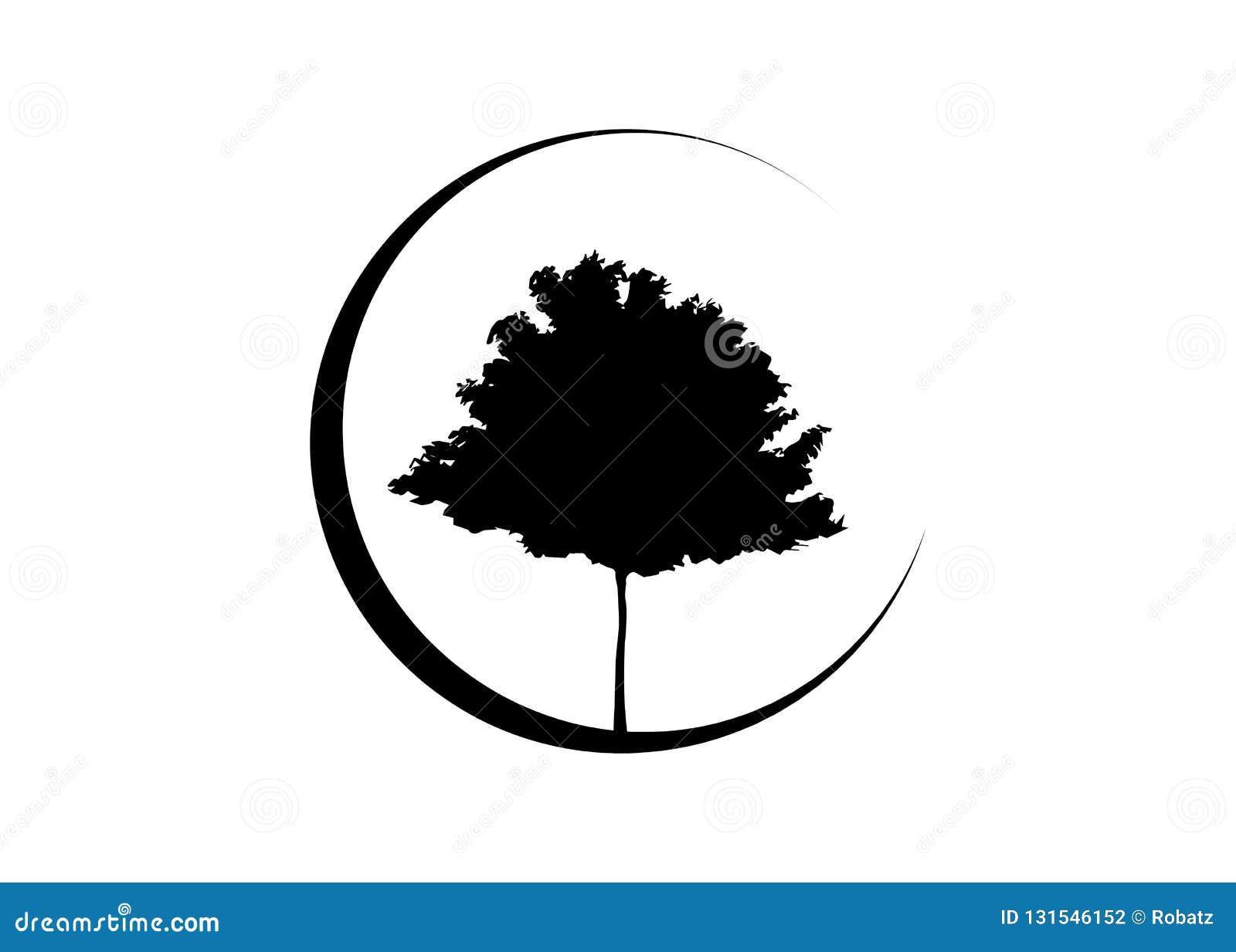 Vector black maple tree silhouette. Ecology Organic Farm Logo design Vector isolated or white background.  stock illustration