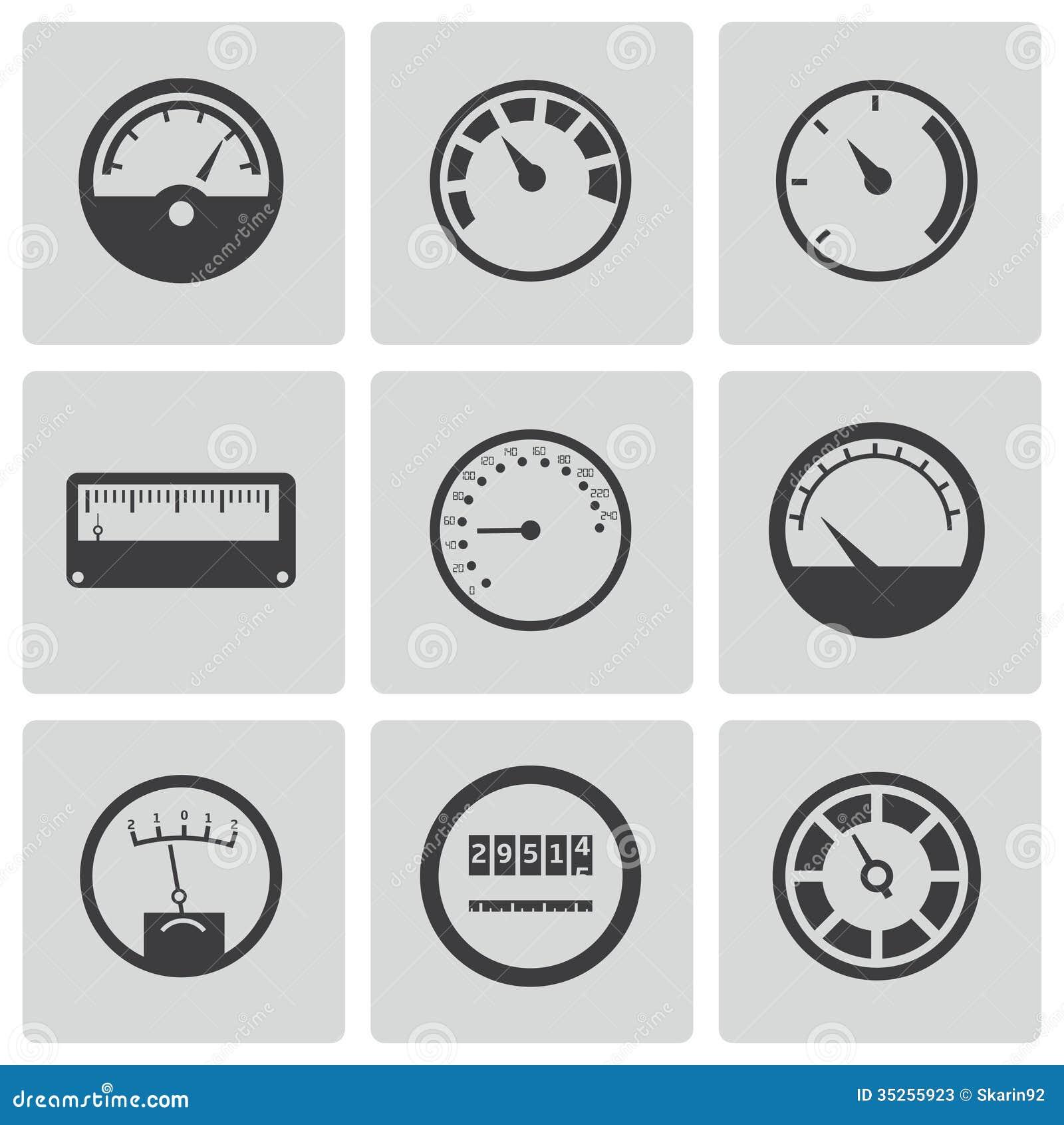 Energy Meter Icon : Vector black meter icons set stock photos image