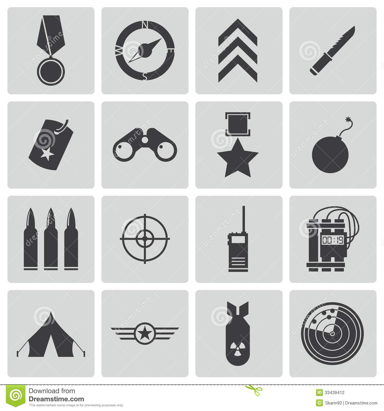 Vector Black Military Icons Stock Photography Image