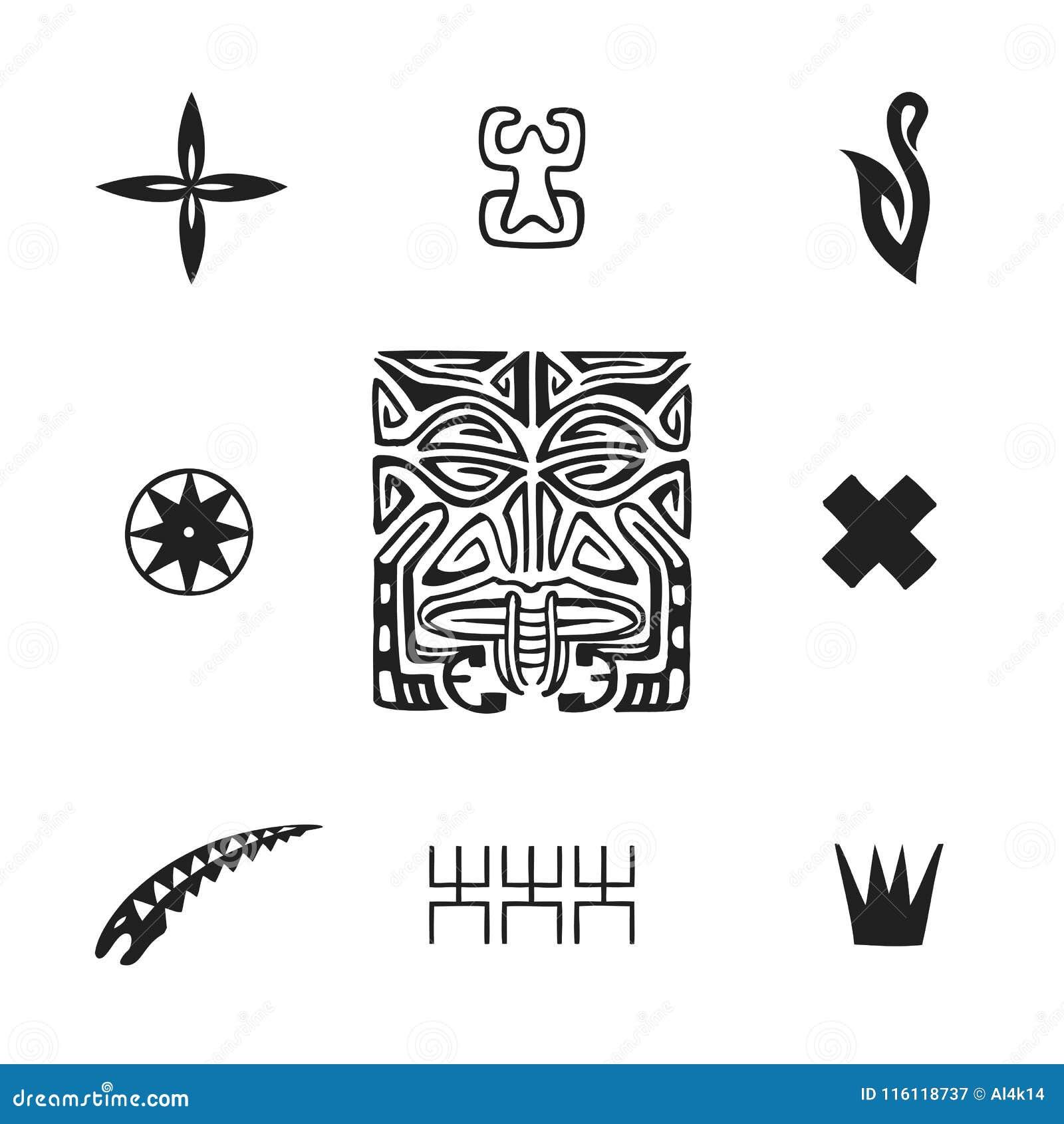 Polynesian Tattoo Indigenous Primitive Art Stock Vector