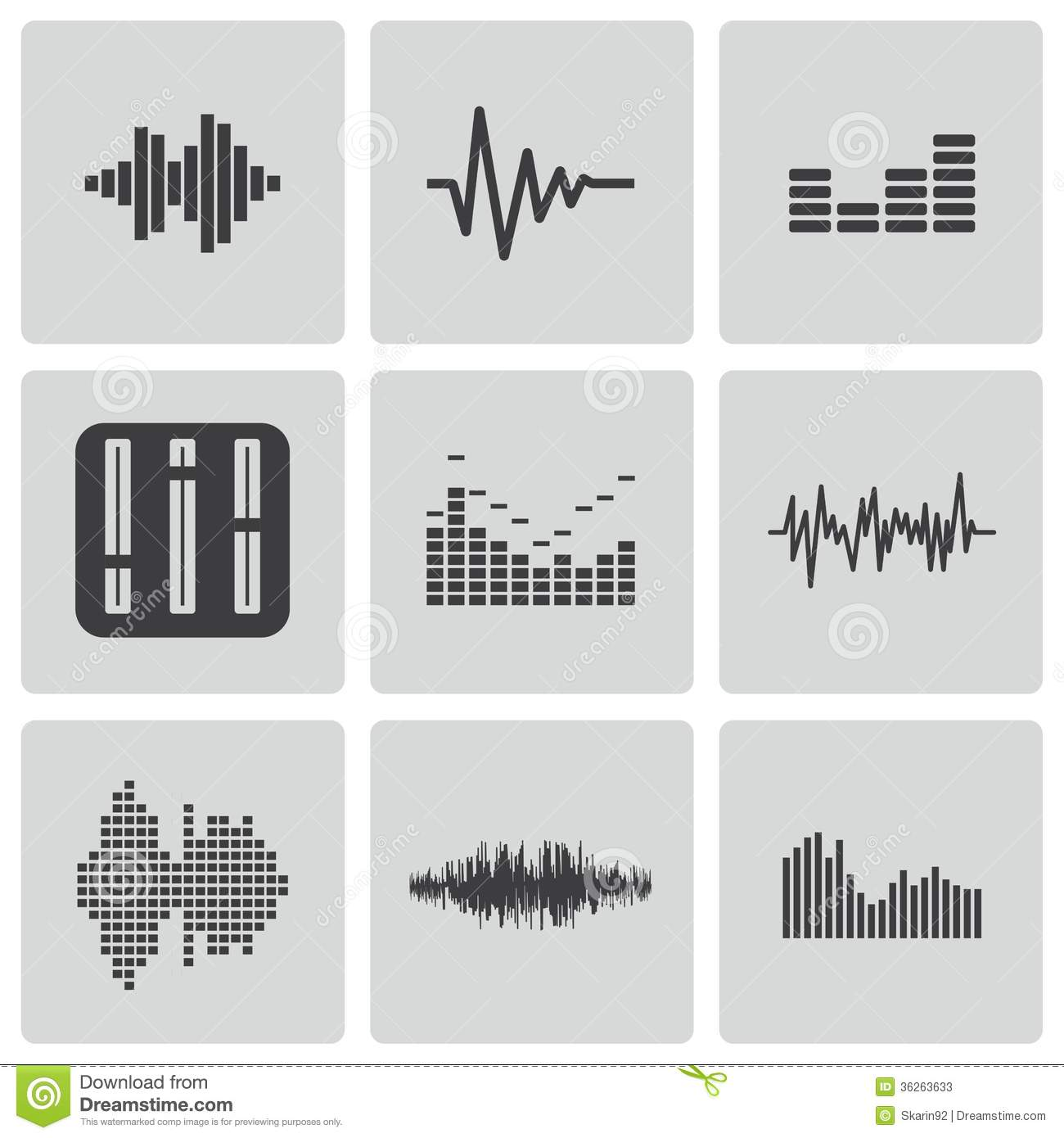 Vector Black Music Soundwave Icons Set Stock Photos ... Graphic Equalizer Vector
