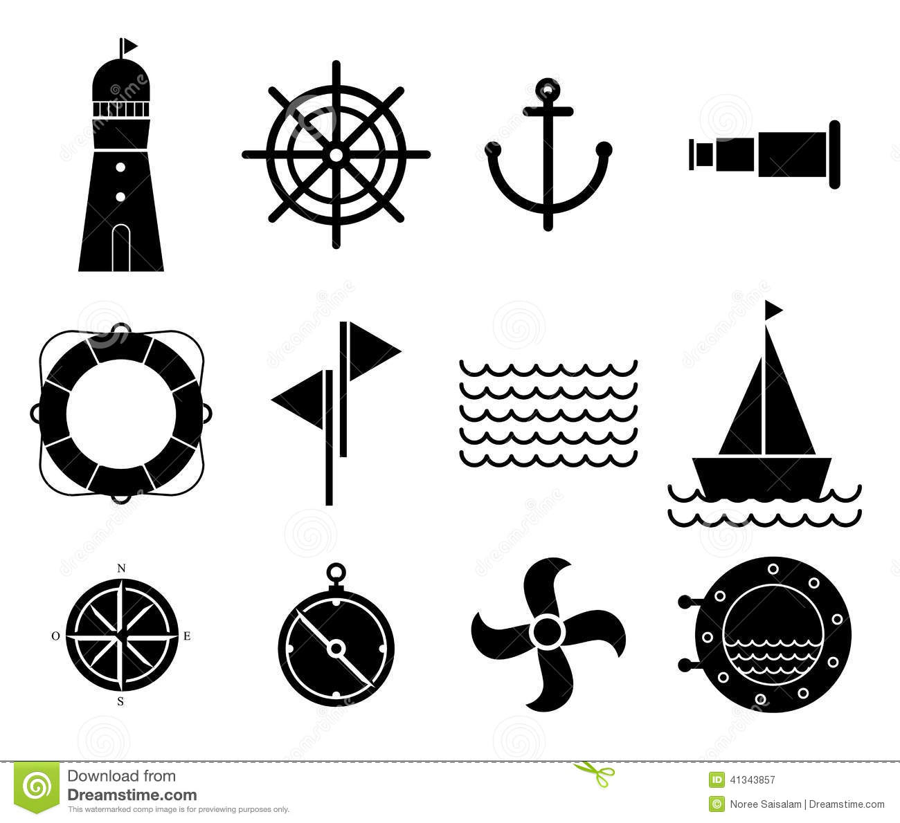 Vector Of Black Nautical And Marine Icons Stock Vector
