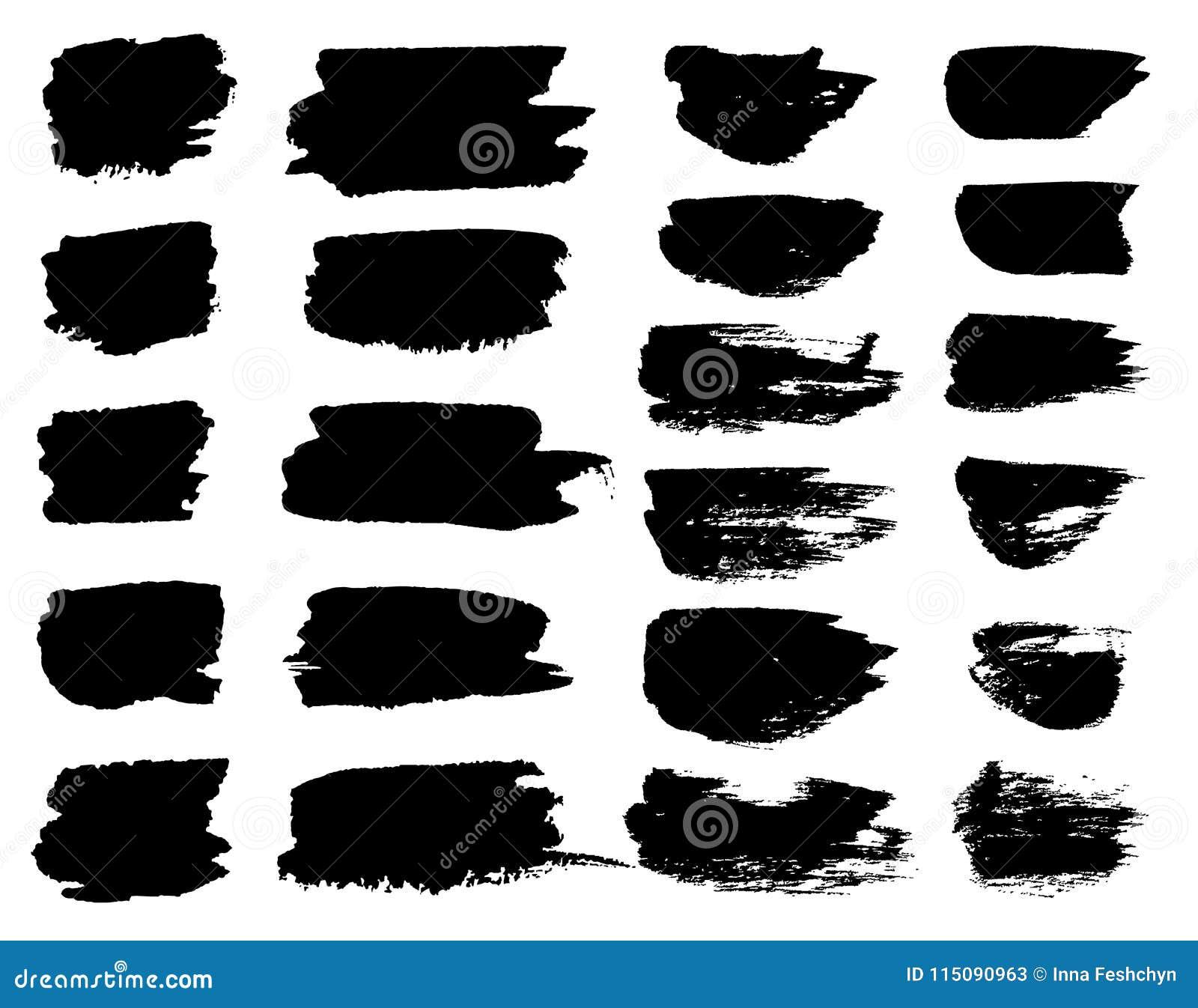 Vector black paint brush spots, highlighter lines or felt-tip pen marker horizontal blobs. Marker pen or brushstrokes