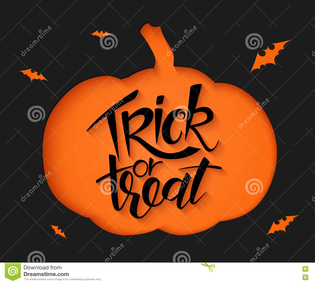 Halloween Trick Or Treat Silhouette.Vector Black Paper Sheet With Clipped Pumpkin Silhouette
