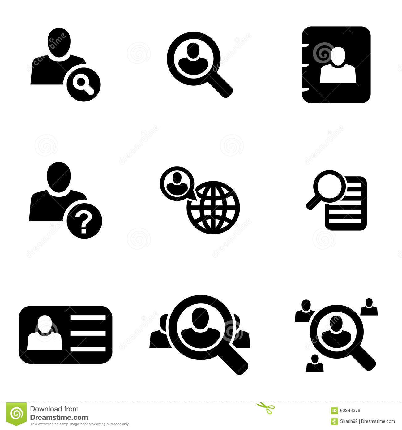 Vector Black People Search Icon Set Stock Illustration Image