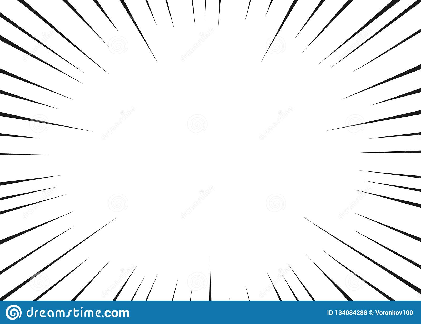 Vector black radial lines for comics, superhero action. Manga frame speed, motion, explosion background. Isolated background.