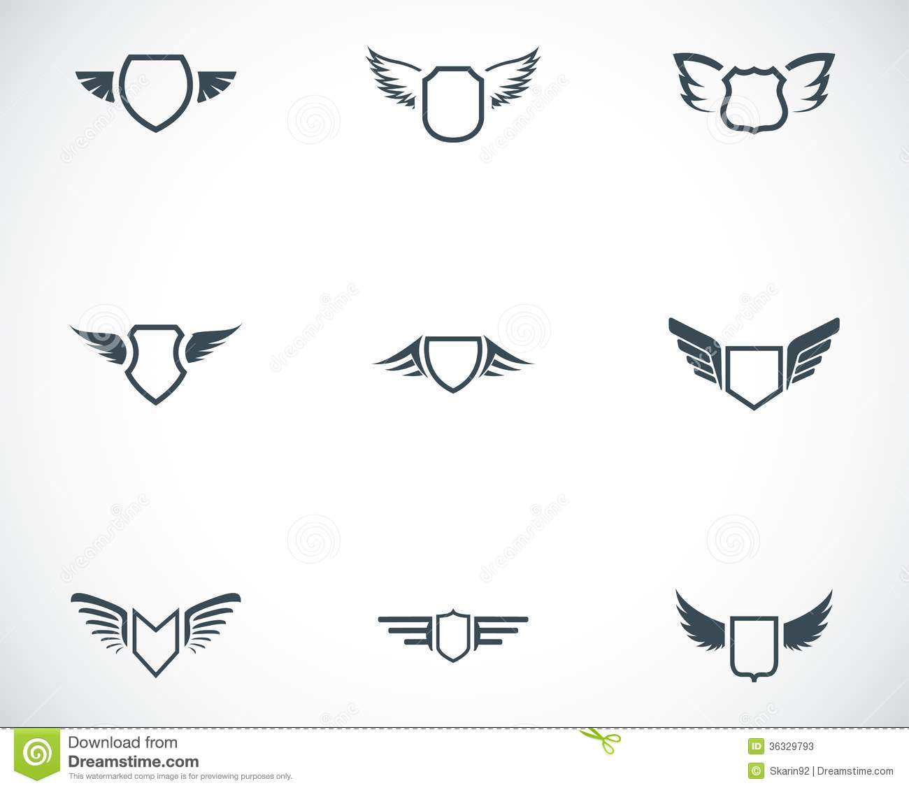 Vector Black Shield Icons Set Stock Photos - Image: 36329793