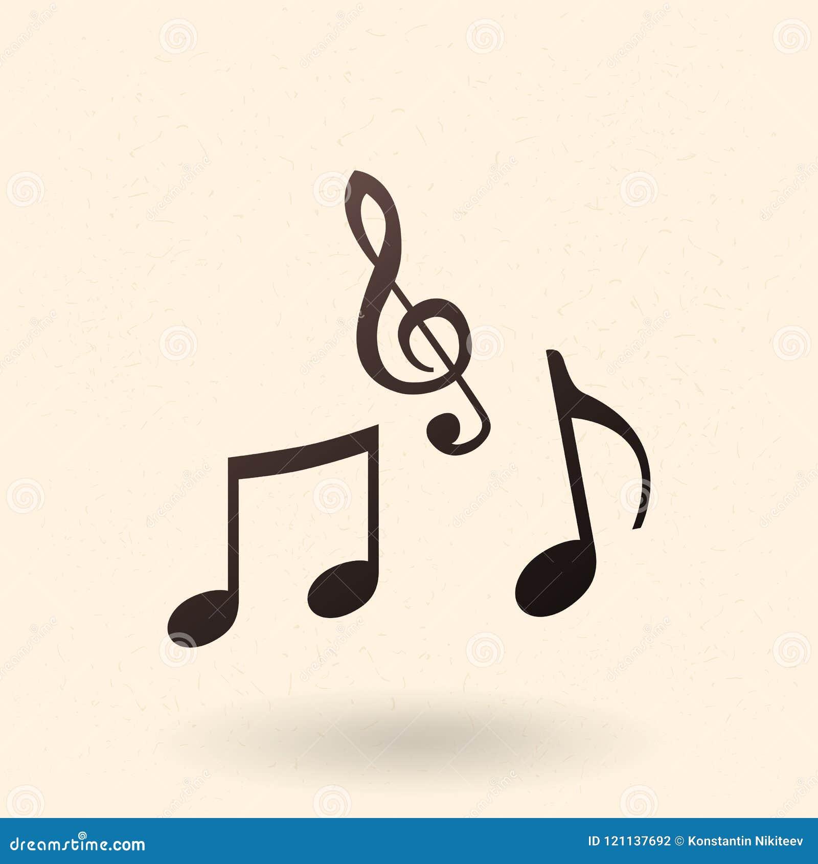 Vector Black Silhouette Icon Music Note Symbols Stock Illustration