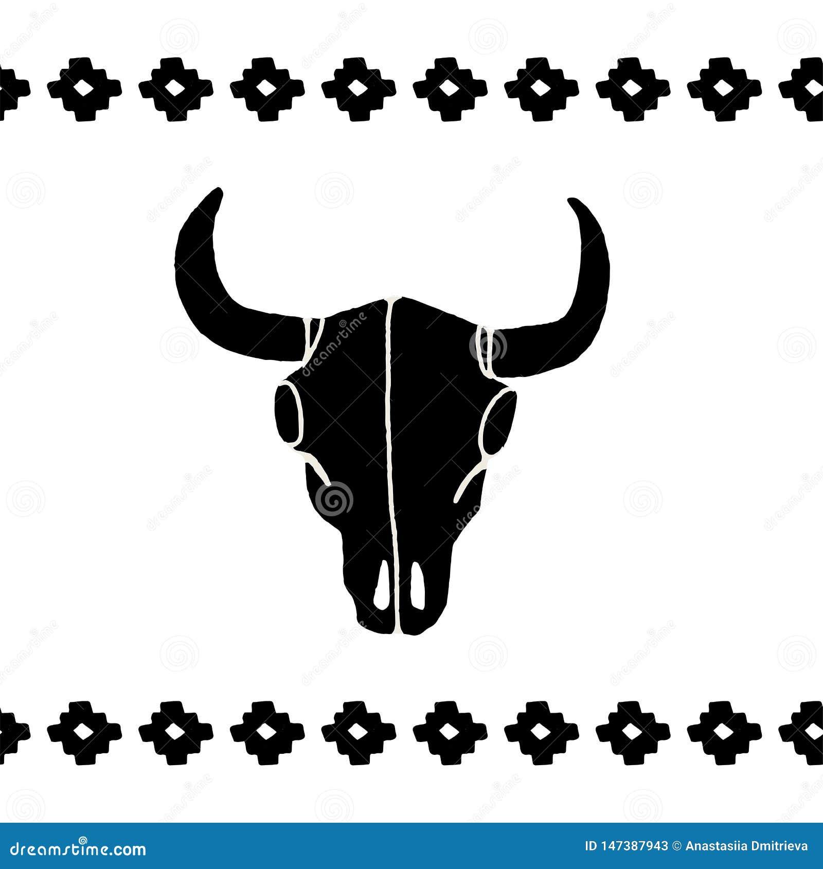 Cow Head Logo. Vector Illustration
