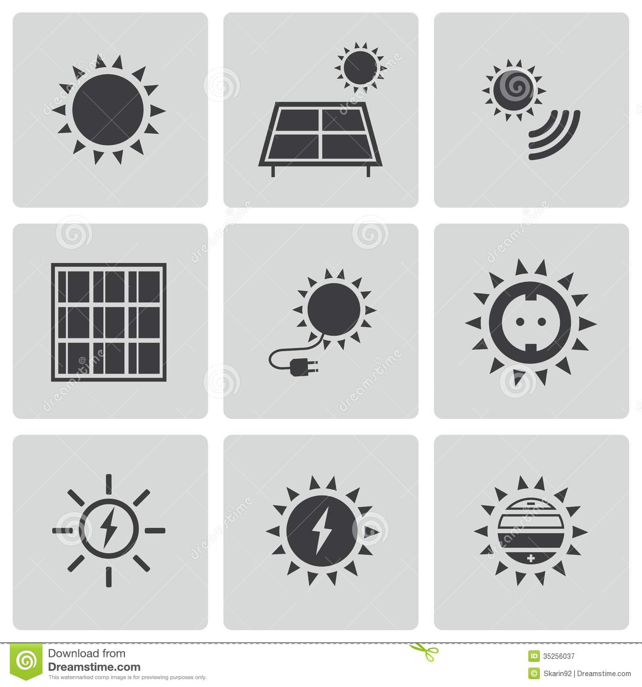 Vector Black Solar Energy Icons Set Royalty Free Stock
