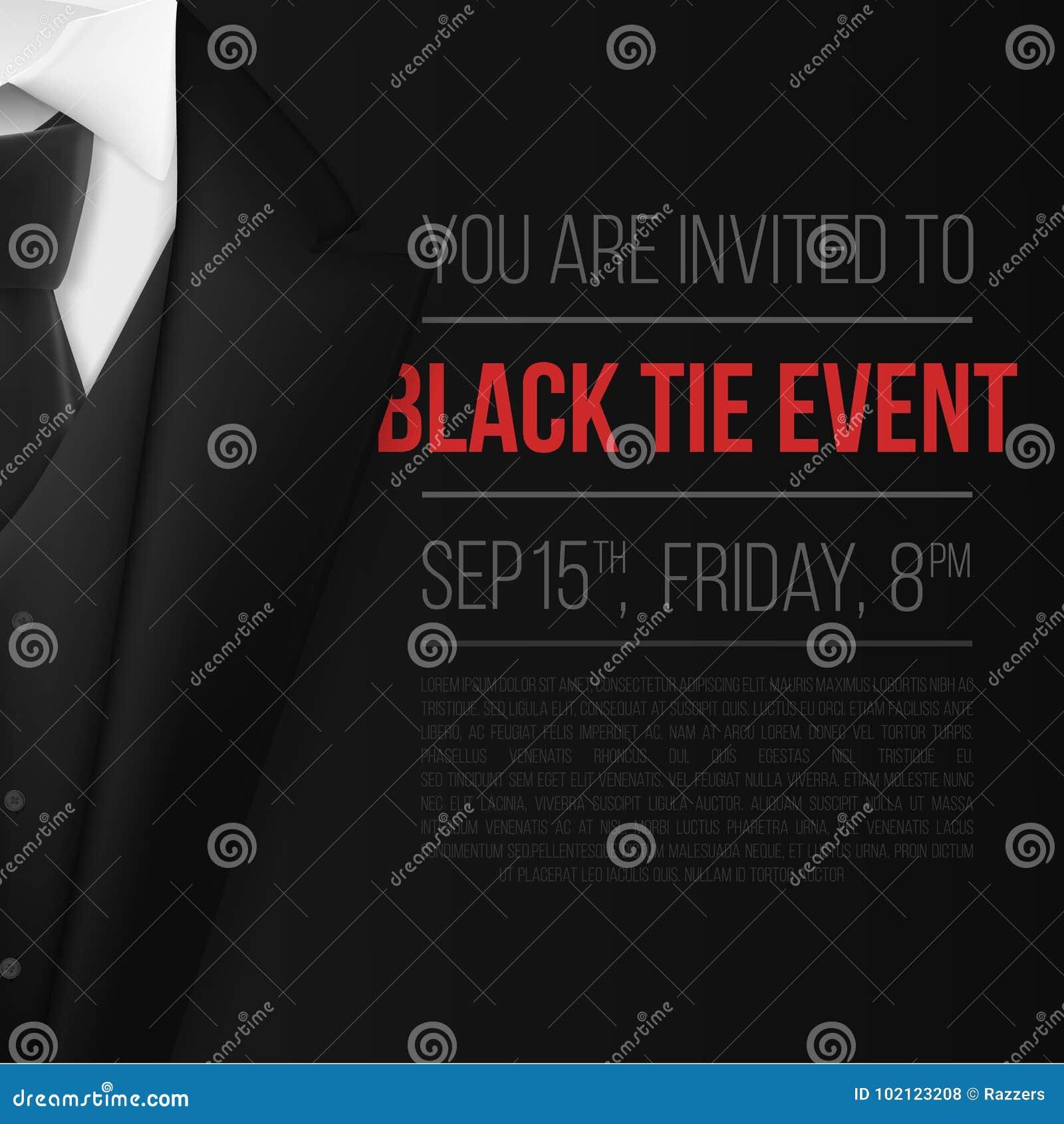vector black suit black tie event invitation template realistic