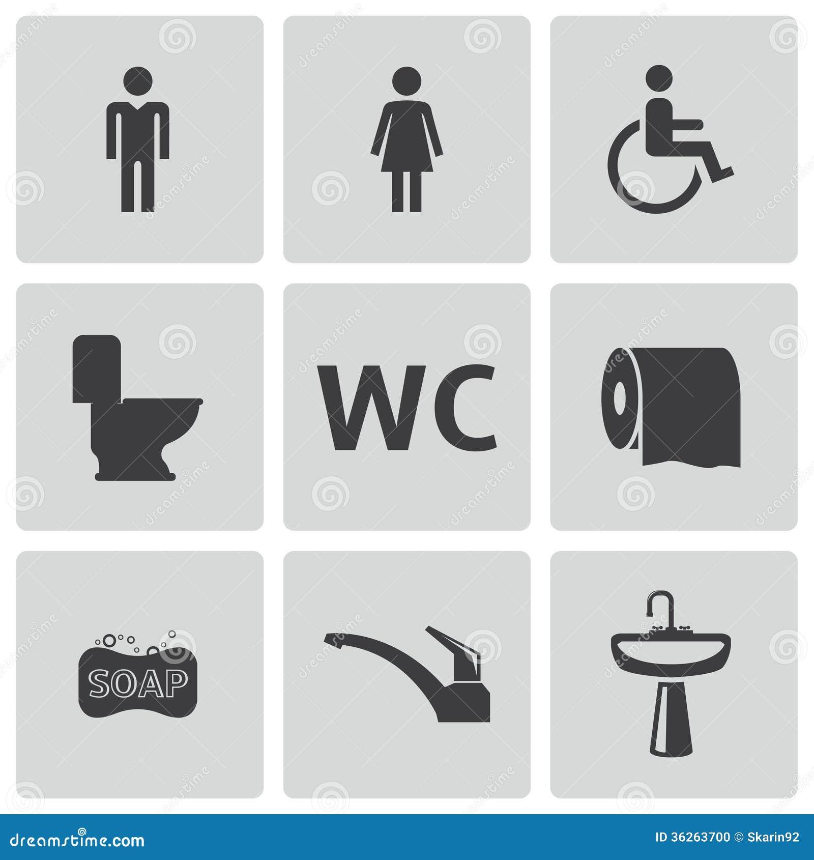 Vector Black Toilet Icons Set Stock Vector Illustration