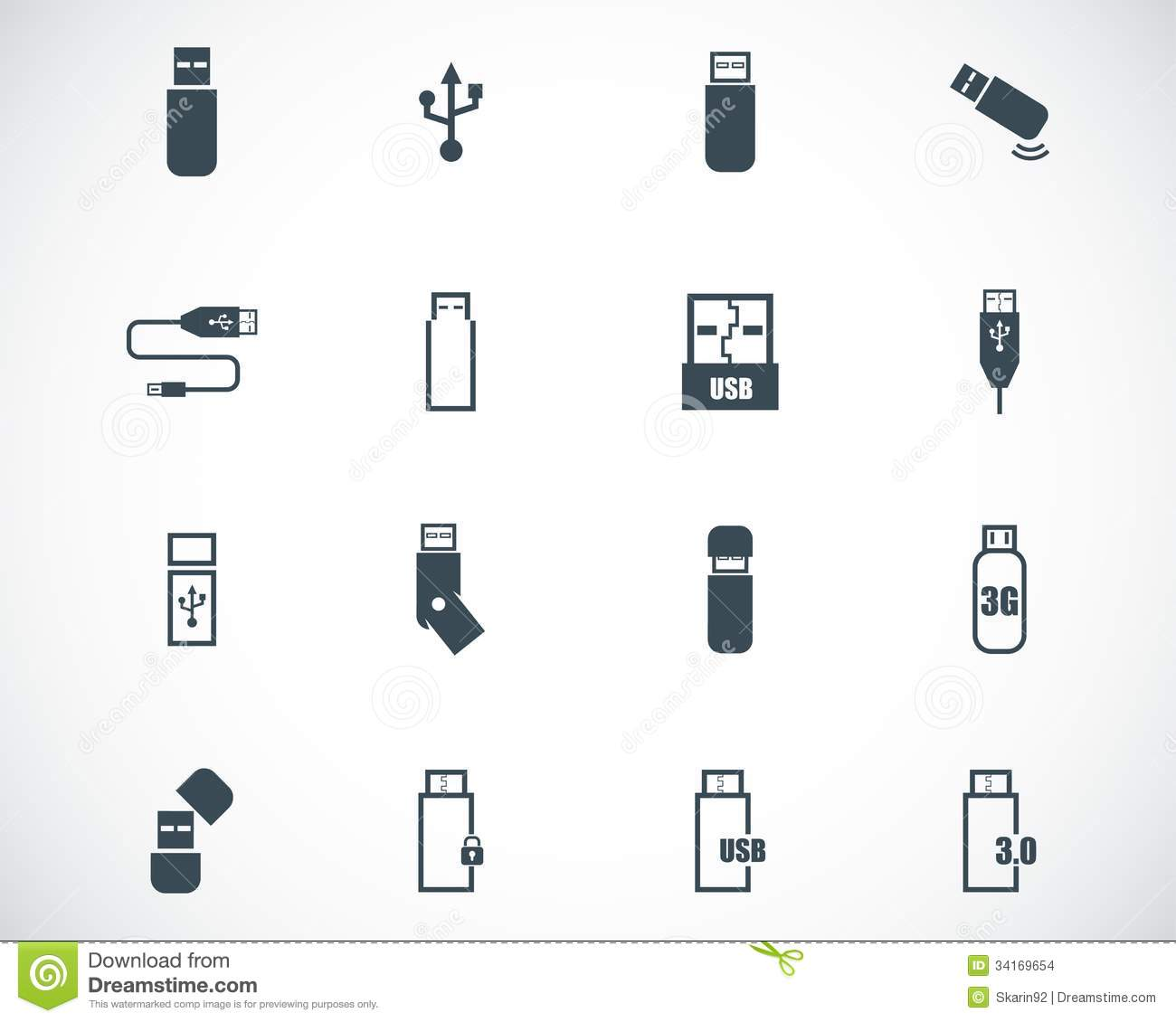 Vector Black Usb Icons Stock Images Image 34169654