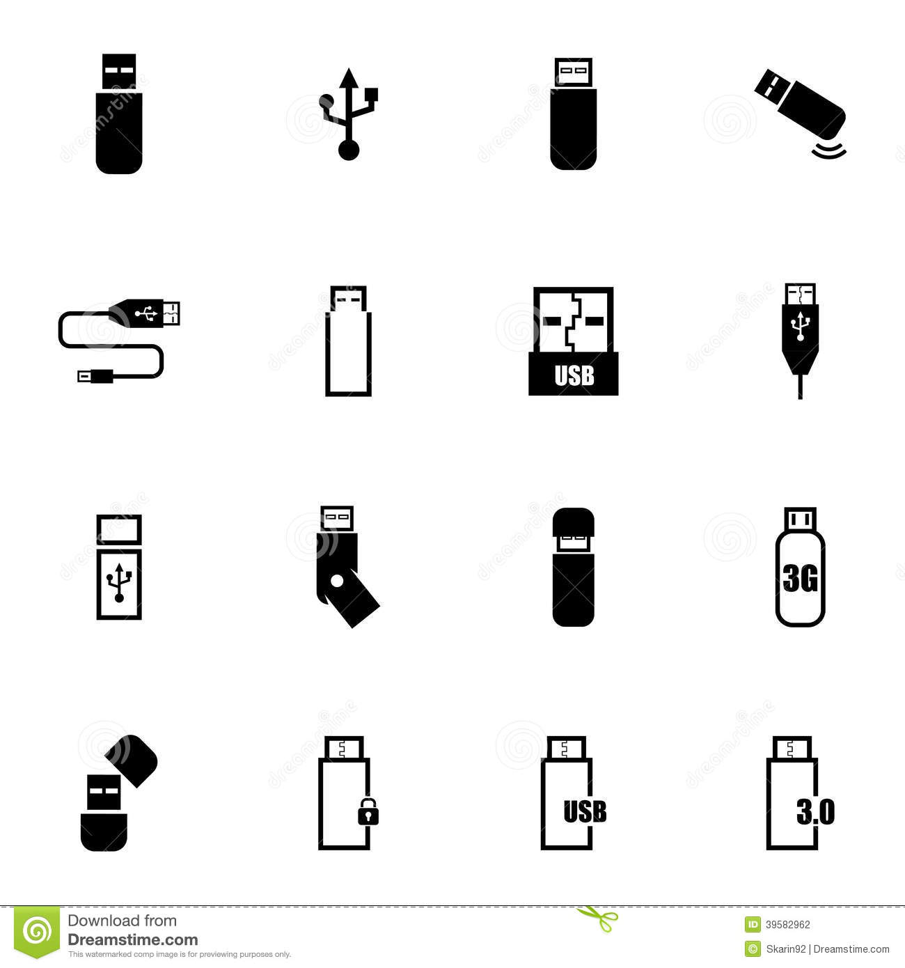 vector black usb icons set stock vector