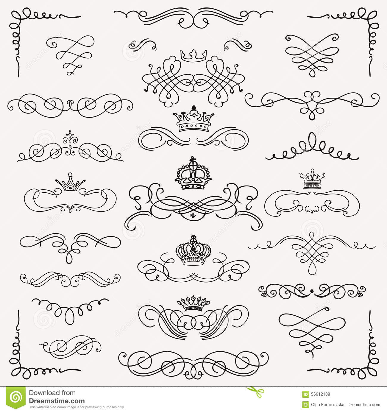 Rustic Scroll Design: Vector Black Vintage Hand Drawn Swirls And Crowns Stock