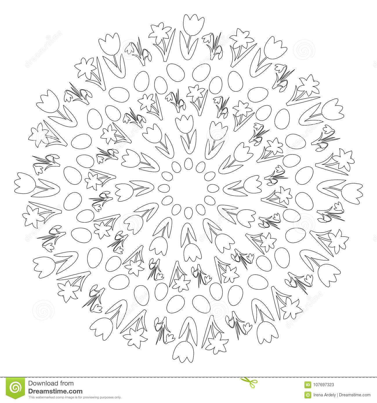 Vector Black And White Circular Round Easter Spring Mandala With Flowers Eggs