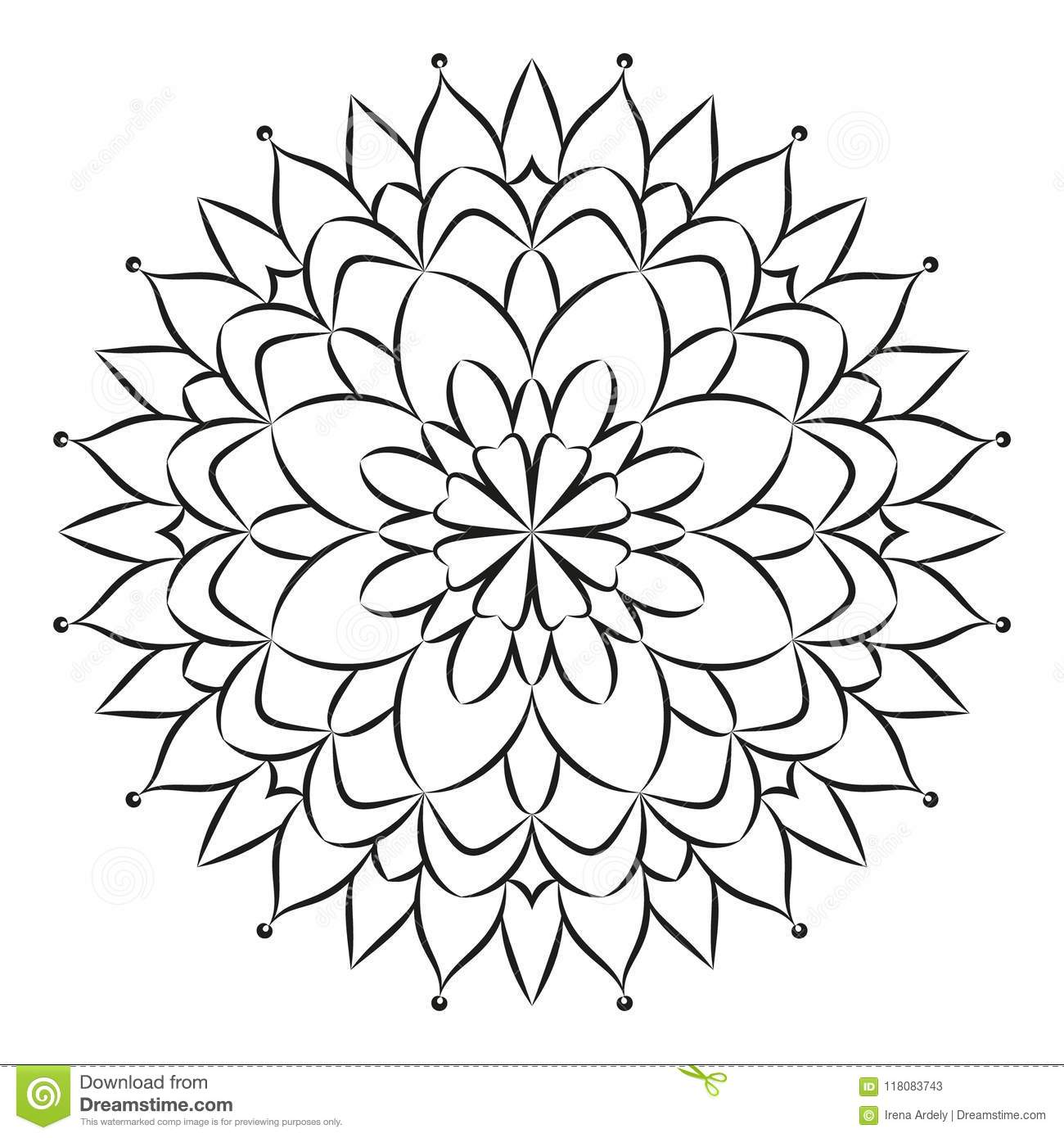 Download Vector Black And White Round Floral Mandala With Simple Flower