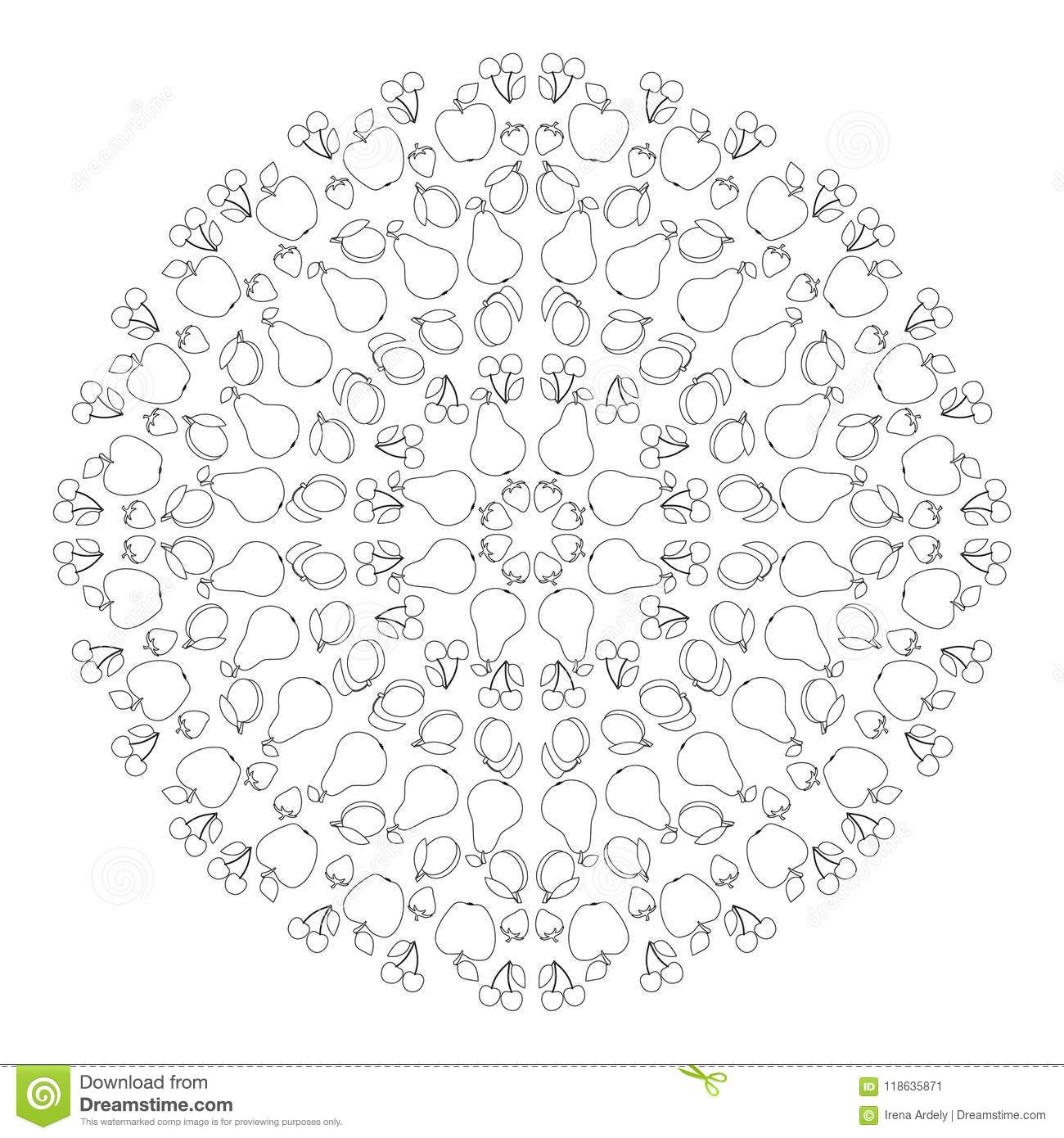 Download Vector Black And White Circular Round Summer Mandala With Fruit