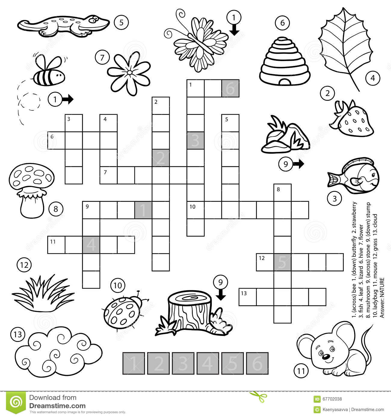 Vector Black And White Crossword For Children About Nature