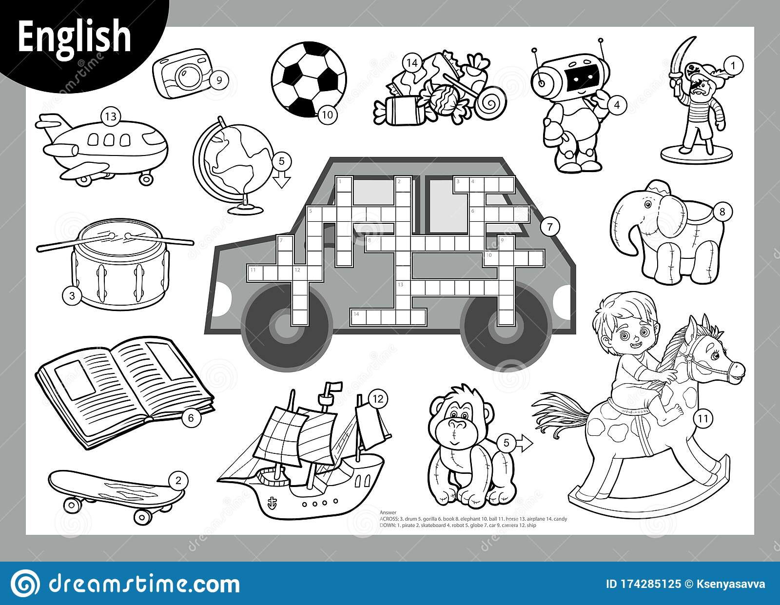 Vector Black And White Crossword In English Cartoon Set Of Toys And Items For Boys Stock Vector Illustration Of Alphabet Game 174285125